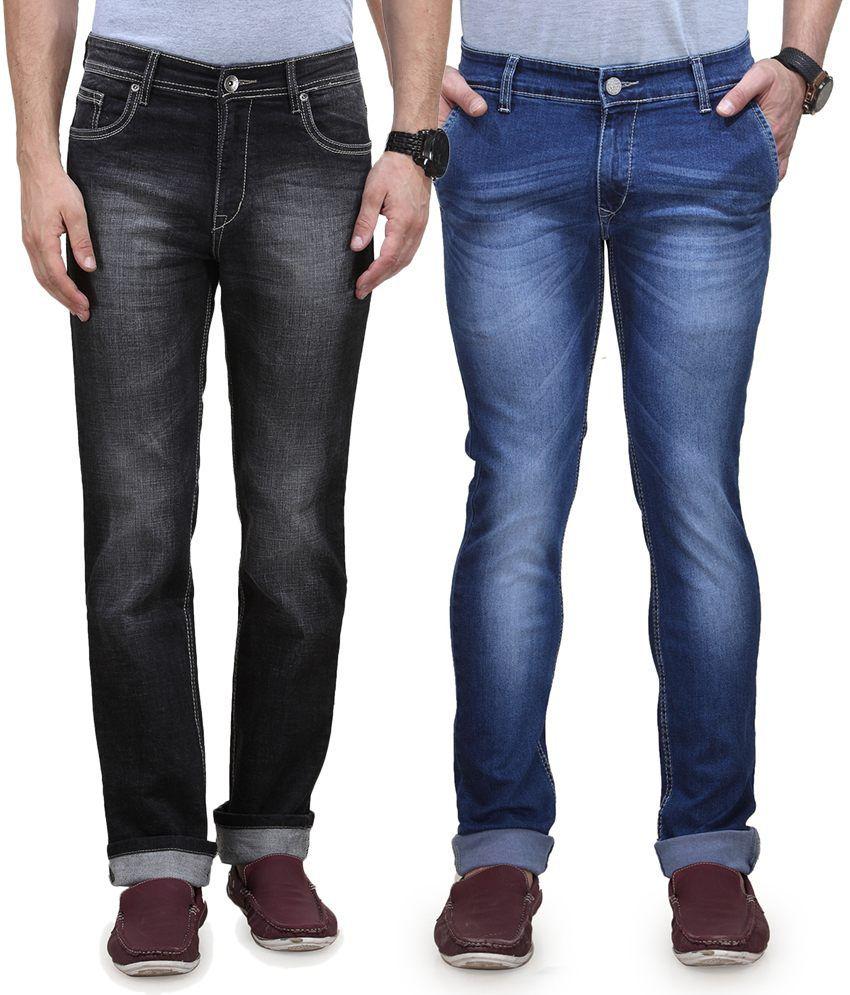 Vintage Blue Jeanswear Multi Cotton Regular Fit High Waist Pack Of 2 Denim