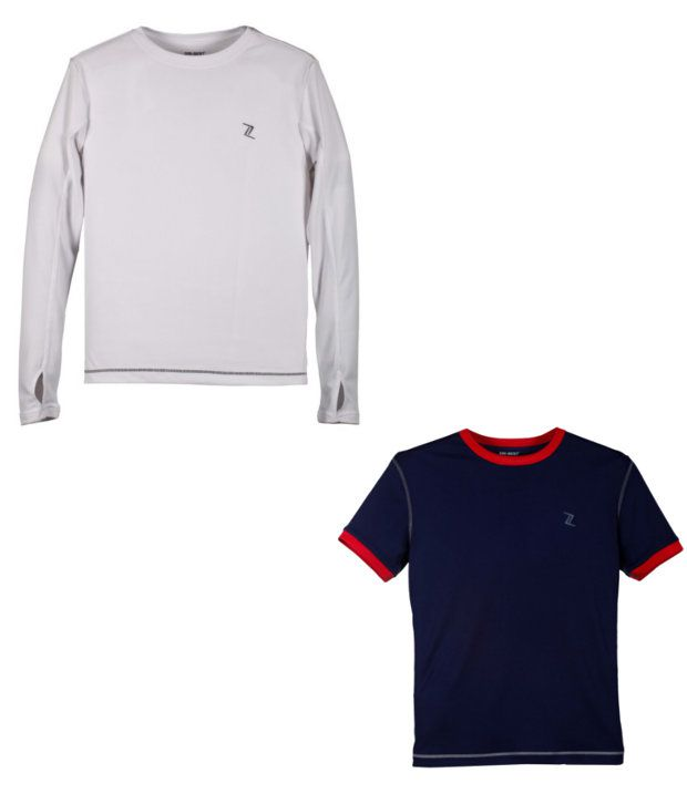 Zobello Navy And White Polyester T-shirts (Combo Of 2)