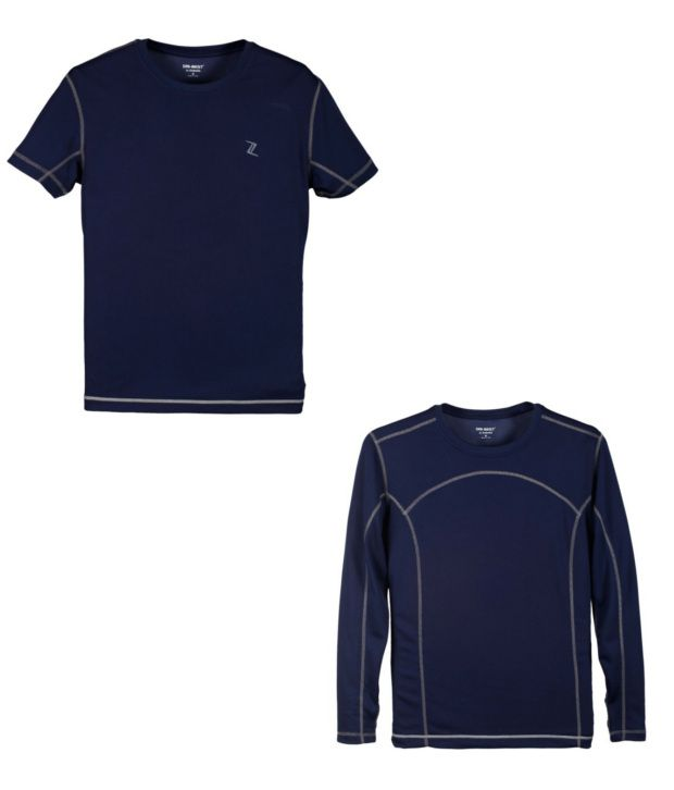 Zobello Navy Polyester T-shirts (Combo Of 2)