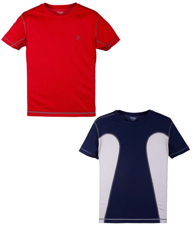 Zobello Red And Navy Polyester T-shirts (Combo Of 2)