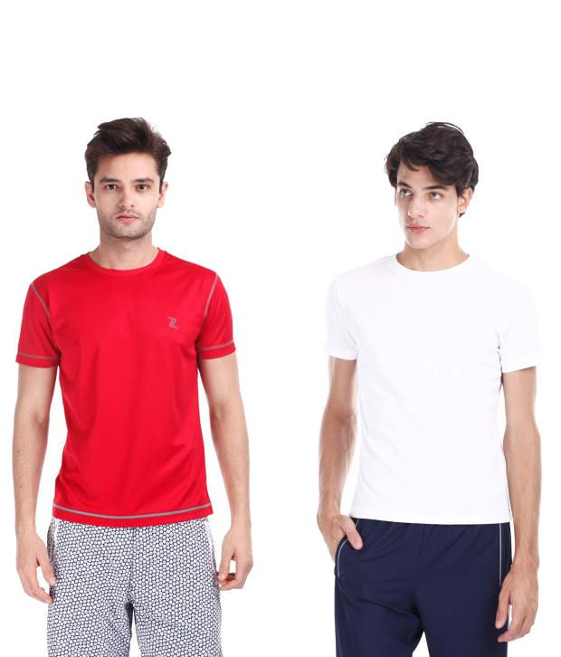 Zobello Red And White Polyester T-shirts (Combo Of 2)