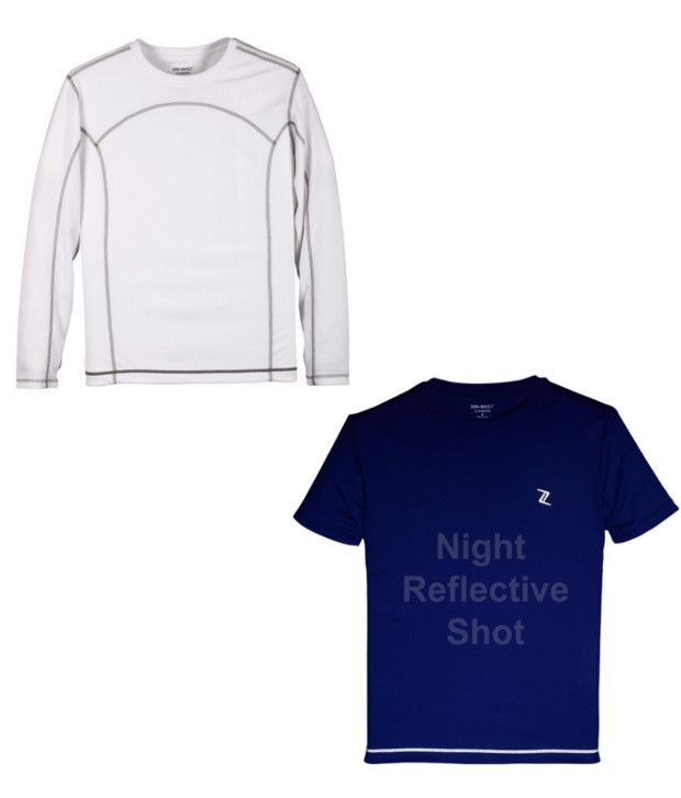 Zobello White And Blue Polyester T-shirts (Combo Of 2)