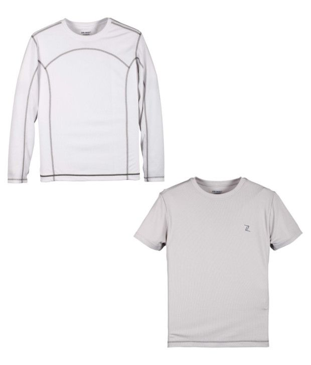 Zobello White And Gray Polyester T-shirts (Combo Of 2)