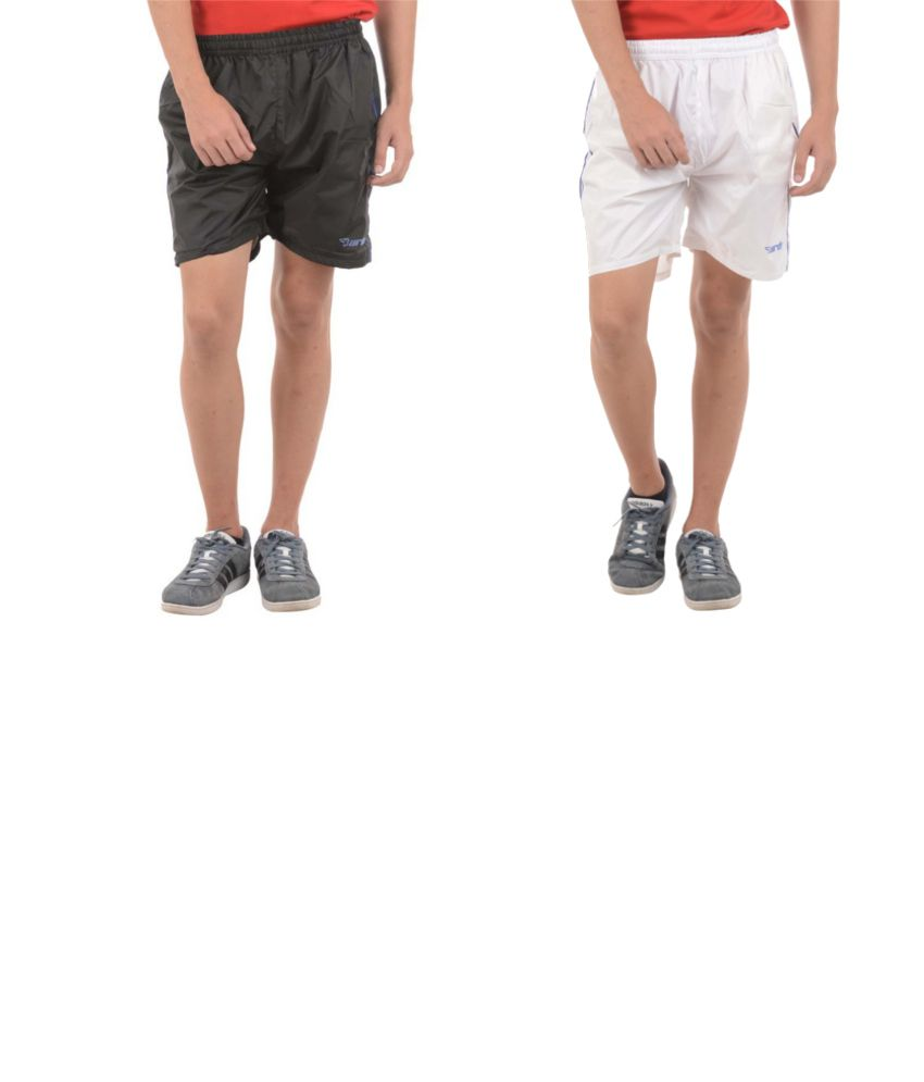 Burdy Black And White Polyester Shorts (Pack Of 2)