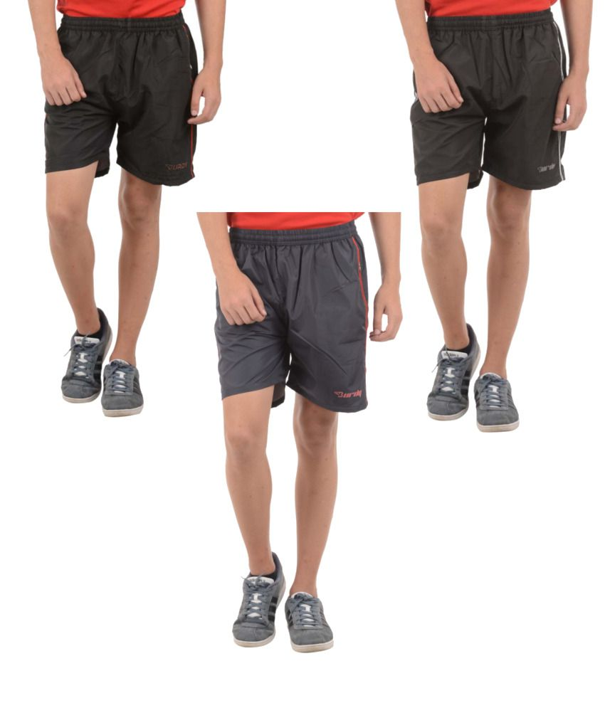 Burdy Black Polyester Shorts (Pack Of 3)
