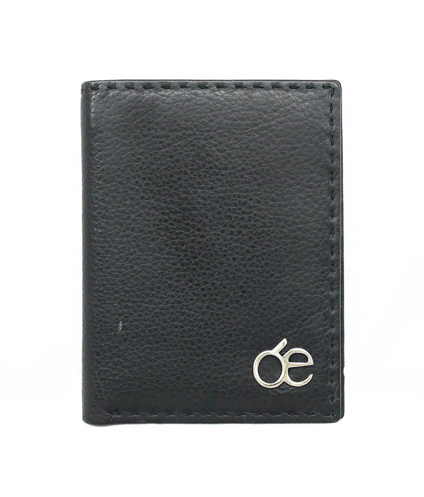 Endiano Black Leather Regular Wallet for Women
