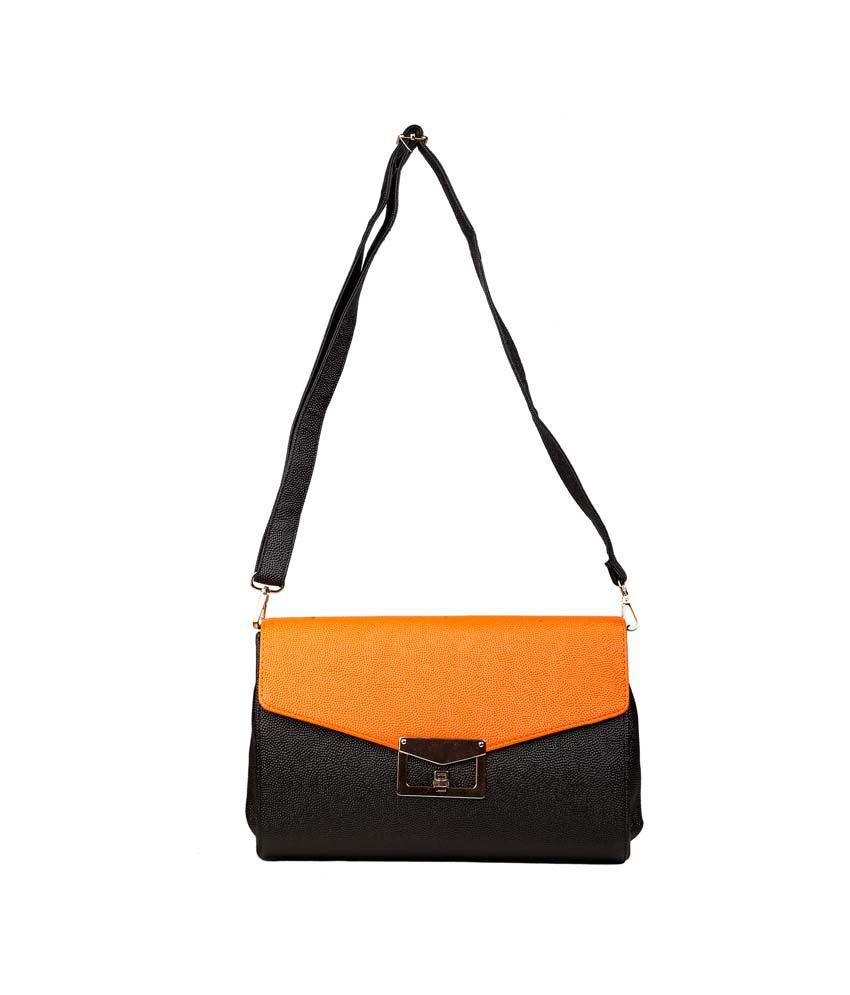 Just Women Orange Leather Shoulder Bags