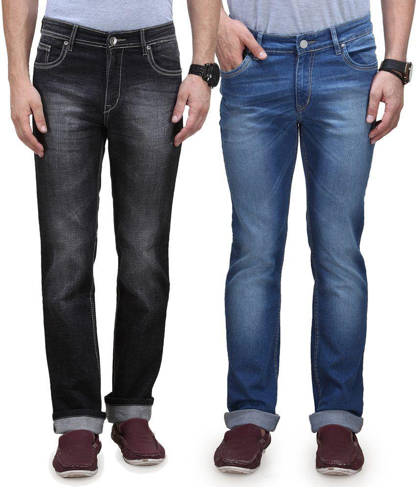 Vintage Blue Jeanswear Multi Cotton Regular Fit Mid Waist Pack Of 2 Denim