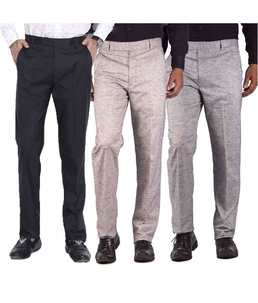 American-Elm Multicolour Cotton Blend Slim Fit Formal Trouser - Combo Of 3
