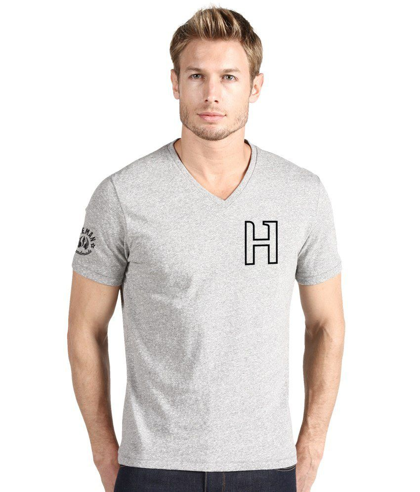 Hueman Gray Cotton V-neck Men T Shirt