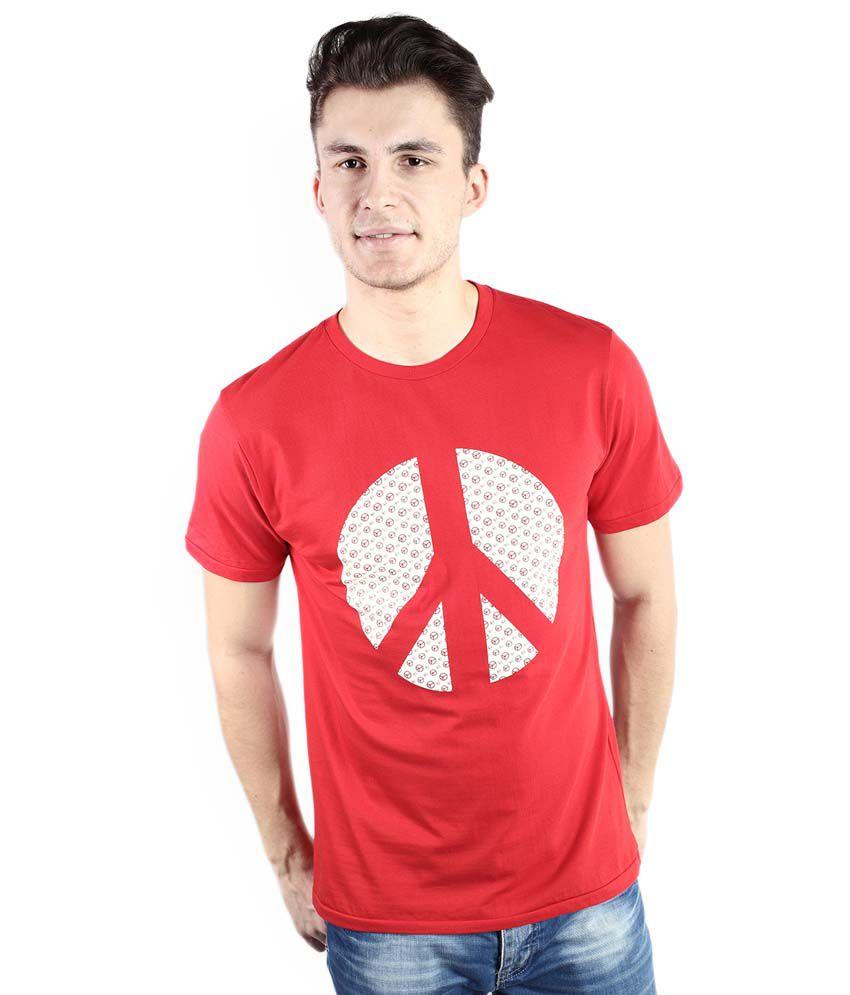 Tomo Red Cotton Half Sleeve Printed T-Shirt