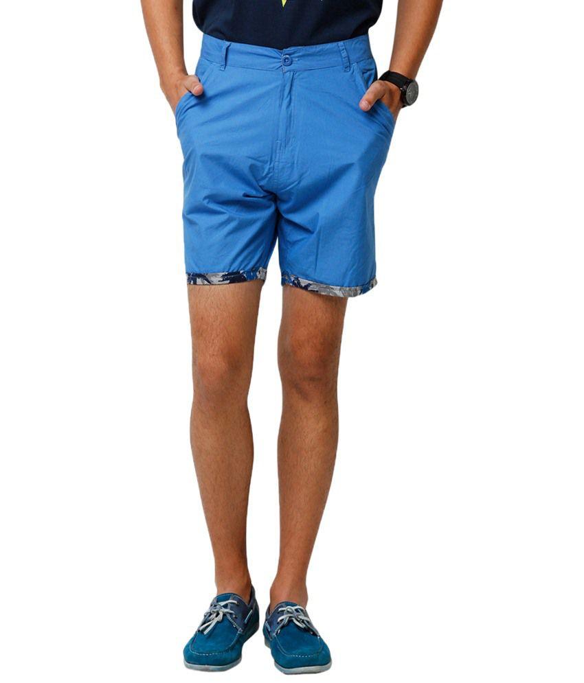Yepme Denson Blue Solid Shorts for Men