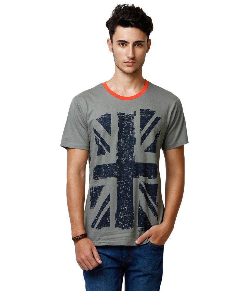 Yepme Green Union Jack Round Neck Printed T-shirt for Men