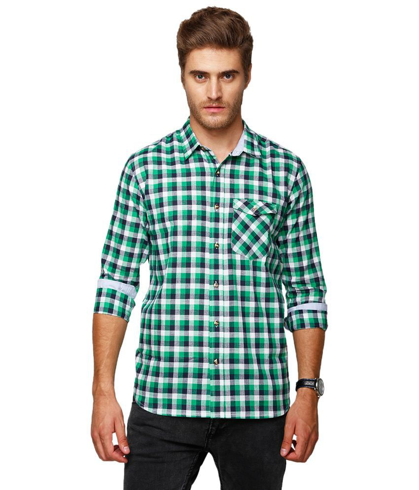 e8c68f856e Yepme Rooney Green   White Checkered Shirt for Men - Buy Yepme Rooney Green    White Checkered Shirt for Men Online at Best Prices in India on Snapdeal