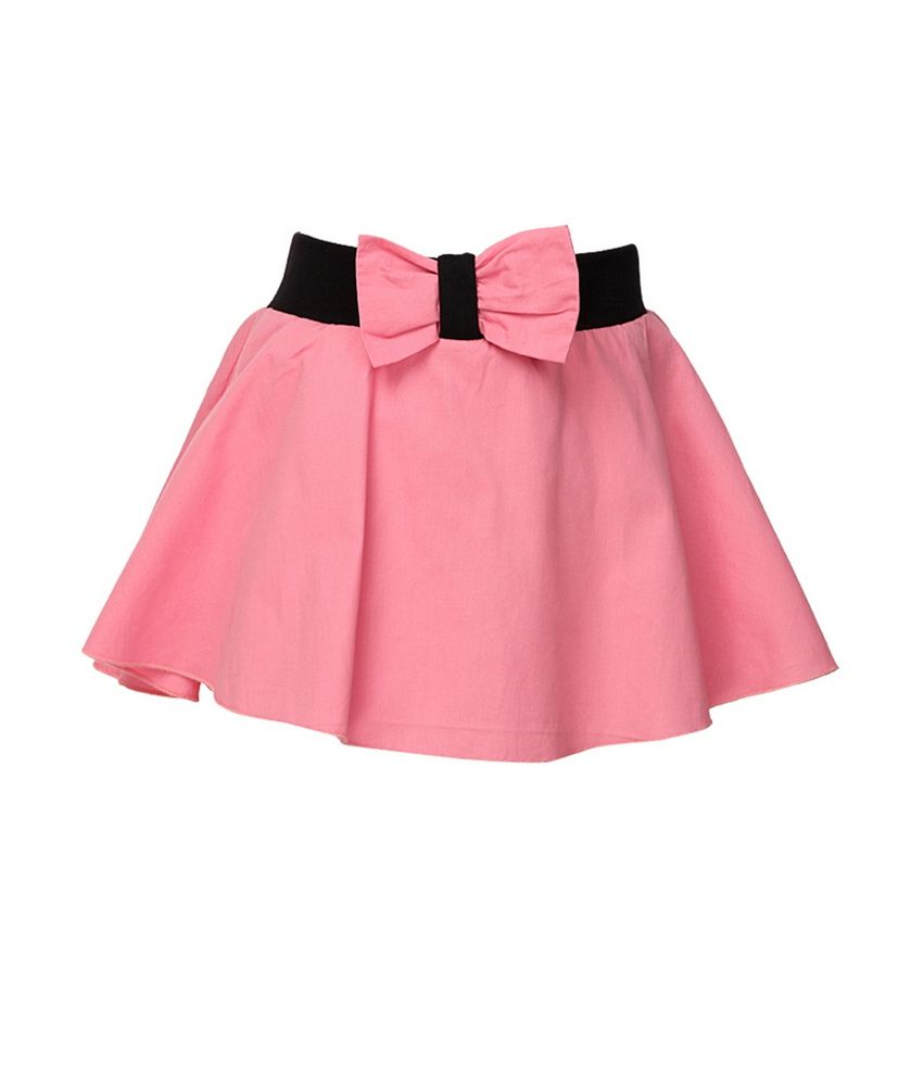 Cool Quotient Pink Bow Flair Rib Waist Shorts For Kids