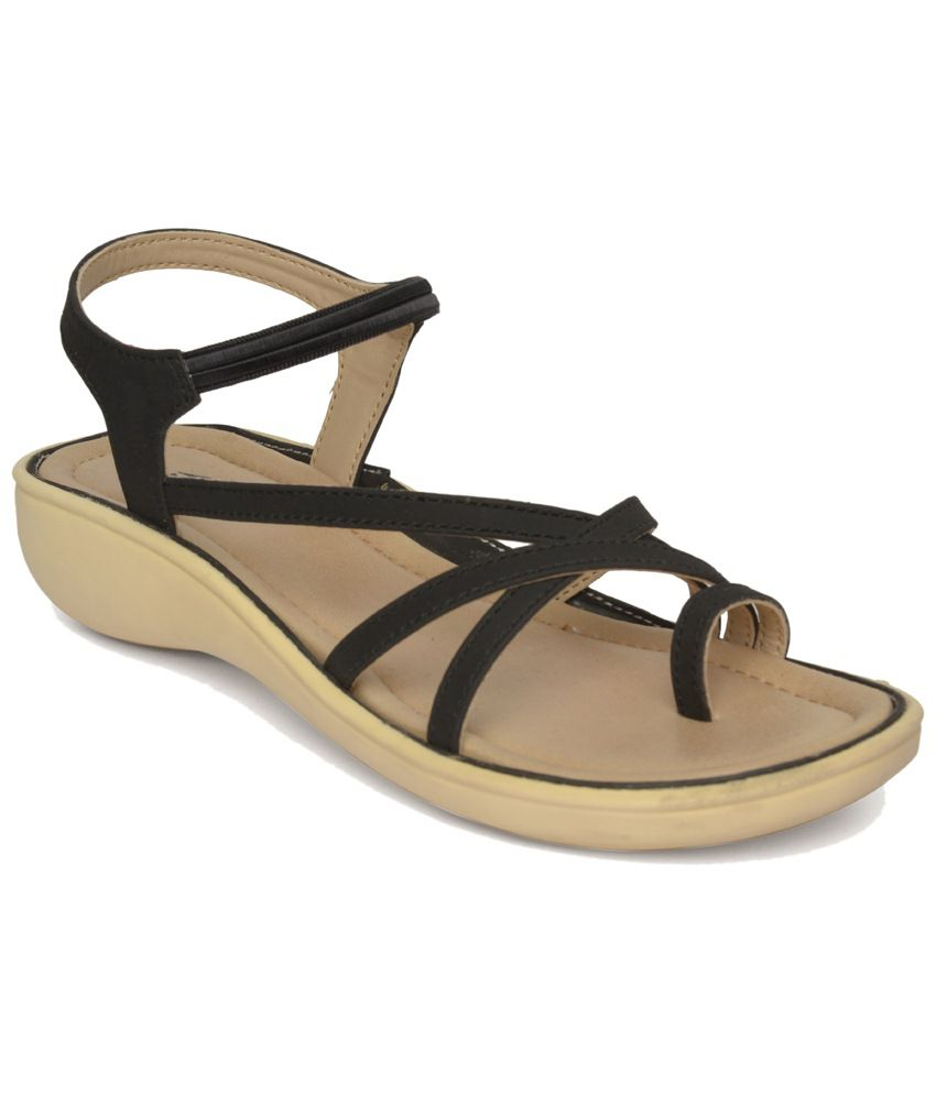 Black sandals online - Vendoz Black Flat Sandals