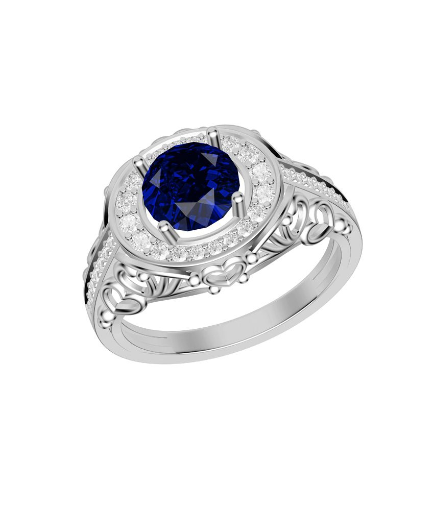 Shish Jewels Blue Shapphire Round Solitaire Stud White Rhodium Plated 925 Sterling Silver Ring