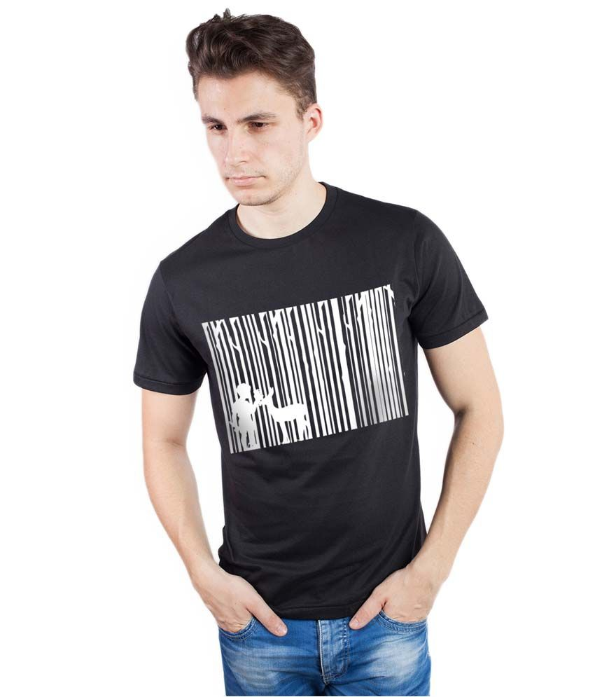 Tomo Black Cotton Printed Round Neck T-Shirt