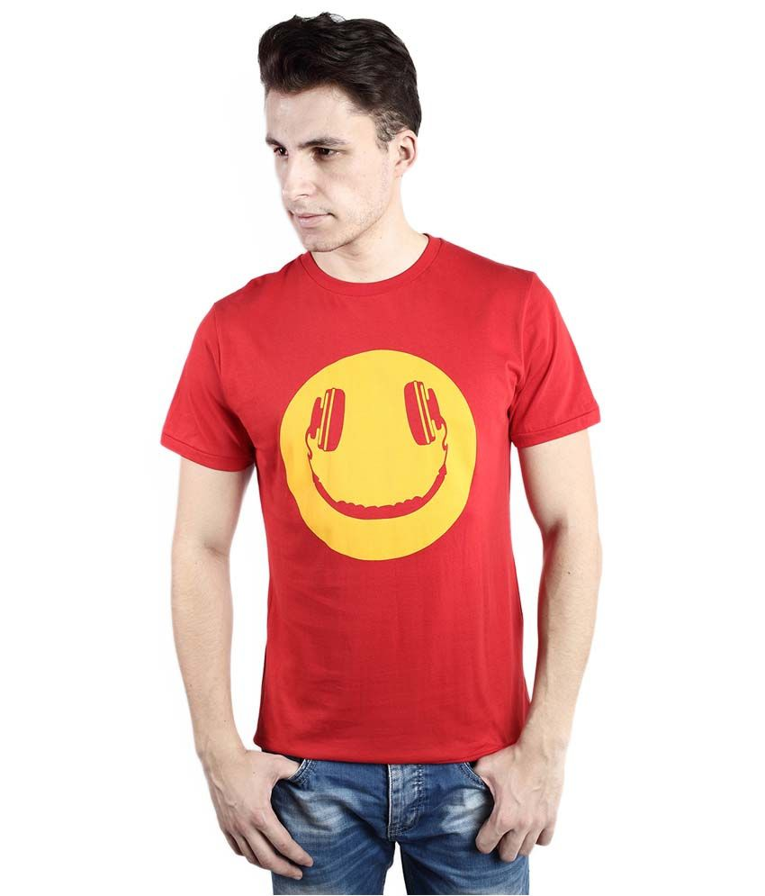 Tomo Red Cotton Printed Round Neck T-Shirt