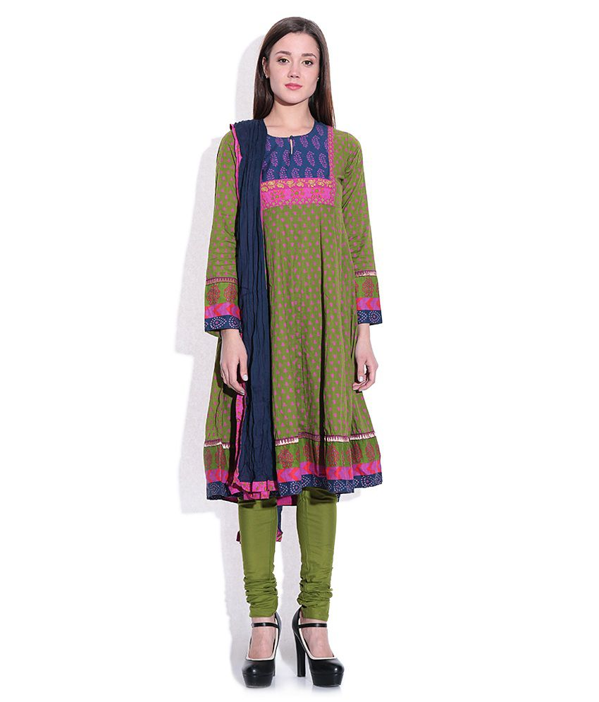 Biba Green & Navy Printed Churidar Anarkali Kurta With Dupatta