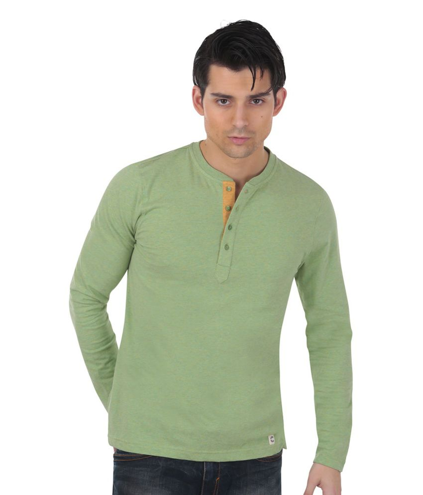 Freecultr Rayce Green Full Sleeves Cotton Henley T-Shirt