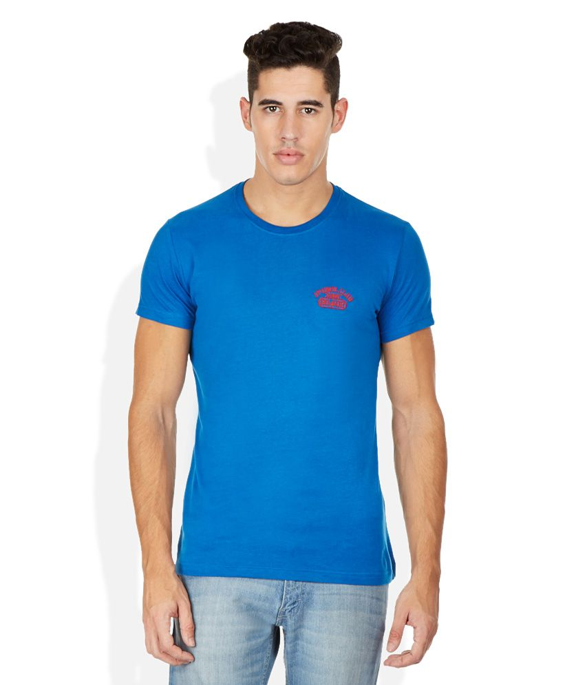 John Players Blue Round Neck T Shirt