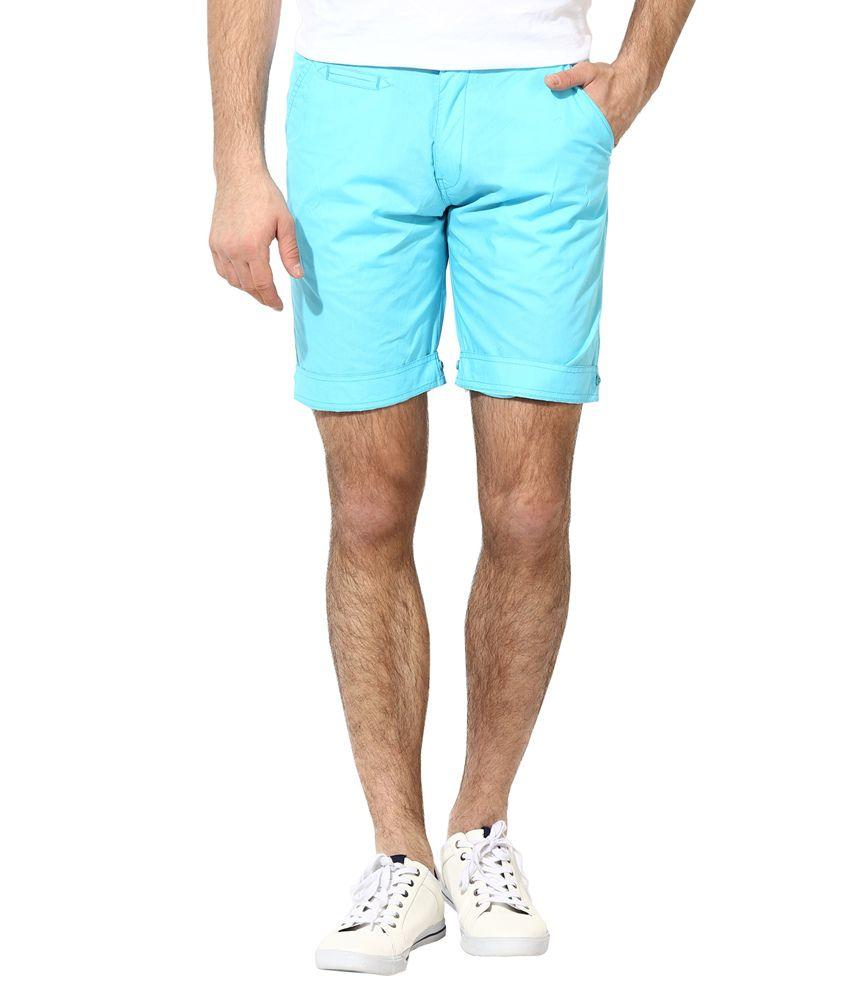 Silver Streak Blue Cotton Shorts