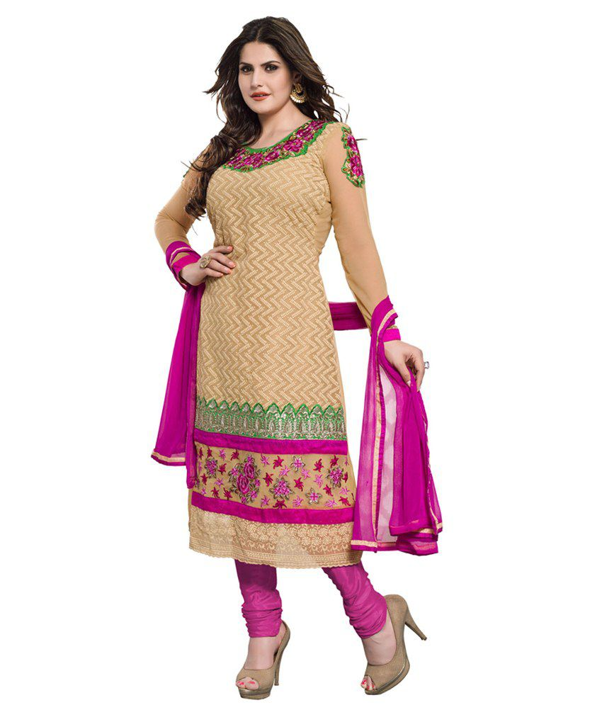 Divine Beige Pure Georgette Stitched Suit