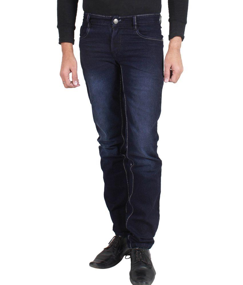 Pj Navy Cotton Blend Regular Fit Jeans