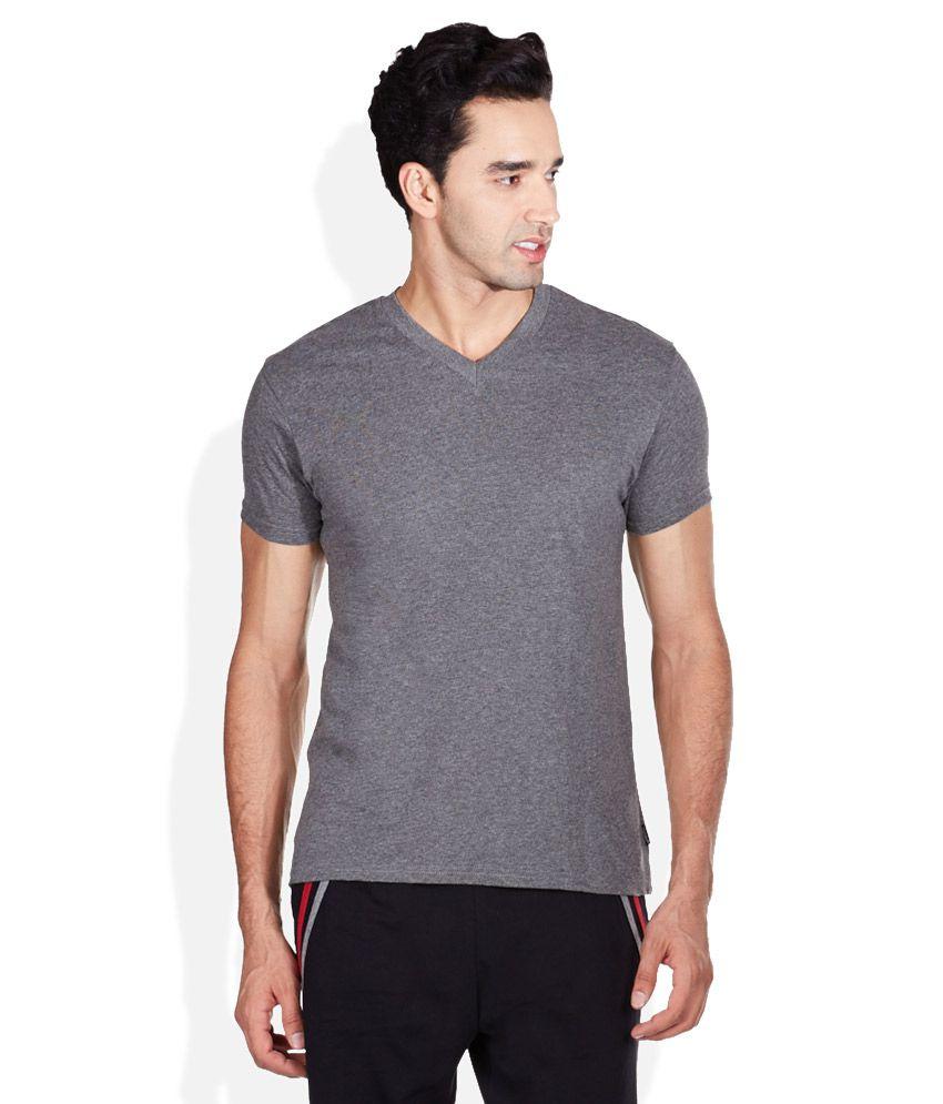 Hanes Gray V-Neck T Shirt