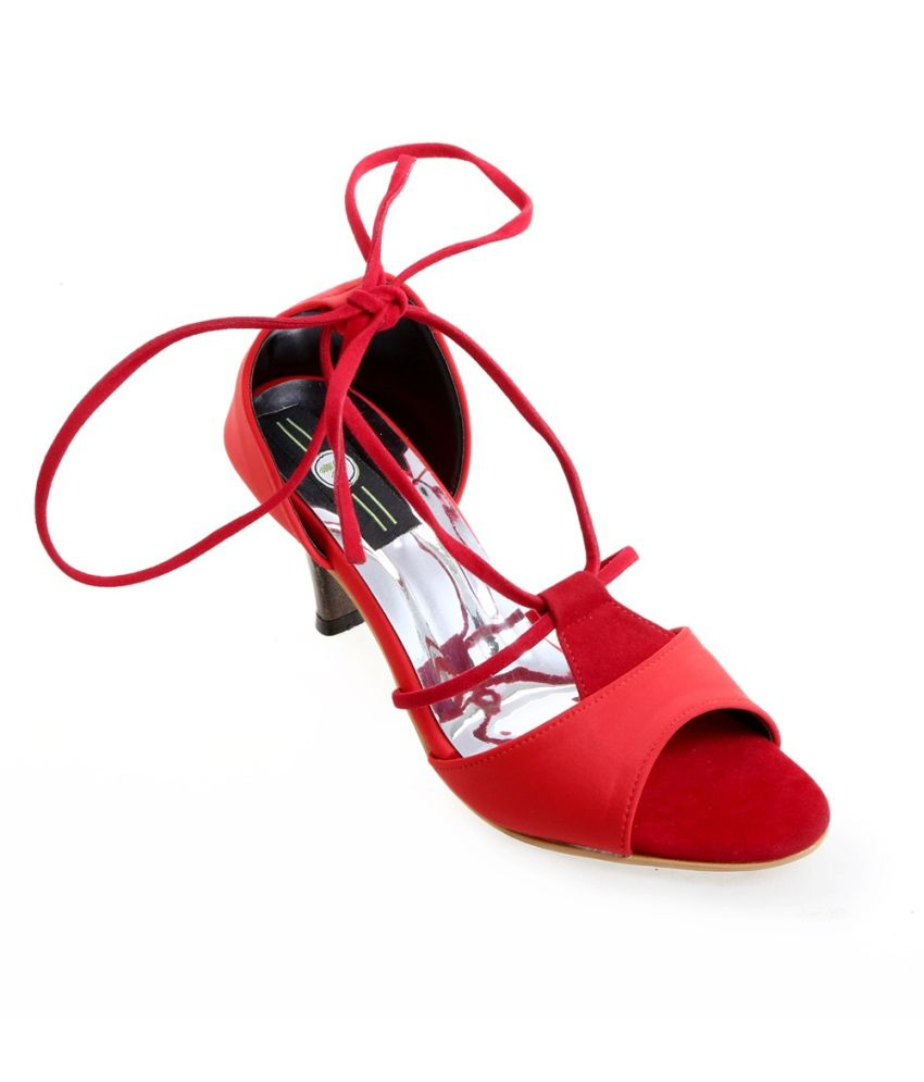 Catbird Red Faux Leather Heeled Sandals