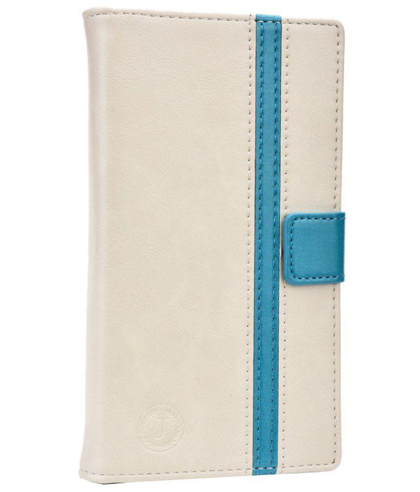 Jo Jo Flip Cover For Karbonn A29-White & Blue