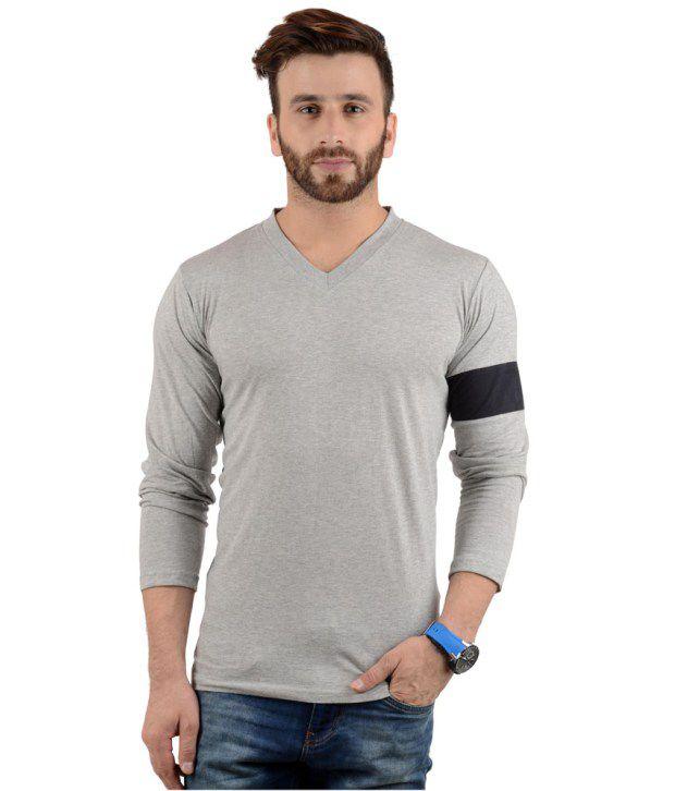 Radbofin Gray Cotton T-shirt For Men