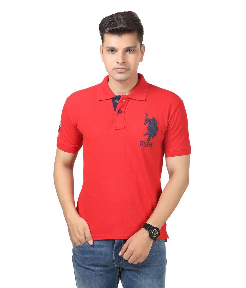 uspa red polo neck half sleeves t shirt buy uspa red
