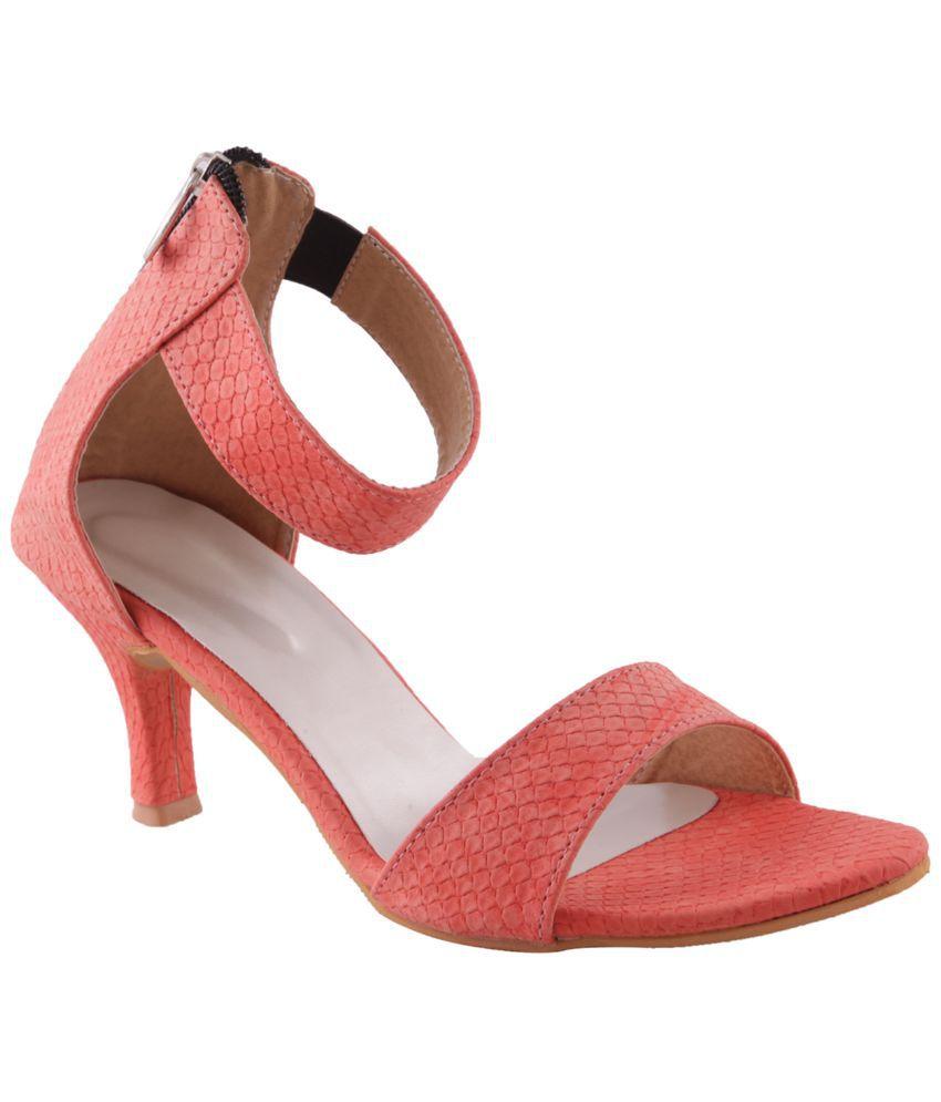Adorn Orange Medium Heel Faux Leather Kitten sandals