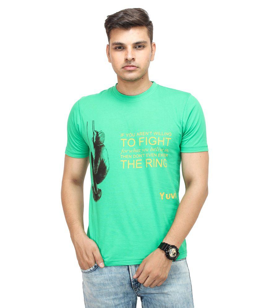 Yuvi Green Cotton Round Neck Half Sleeves T-Shirt