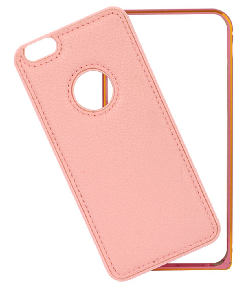 Cnc Pink Leather Plus Bumper Back Cover For Apple Iphone 6