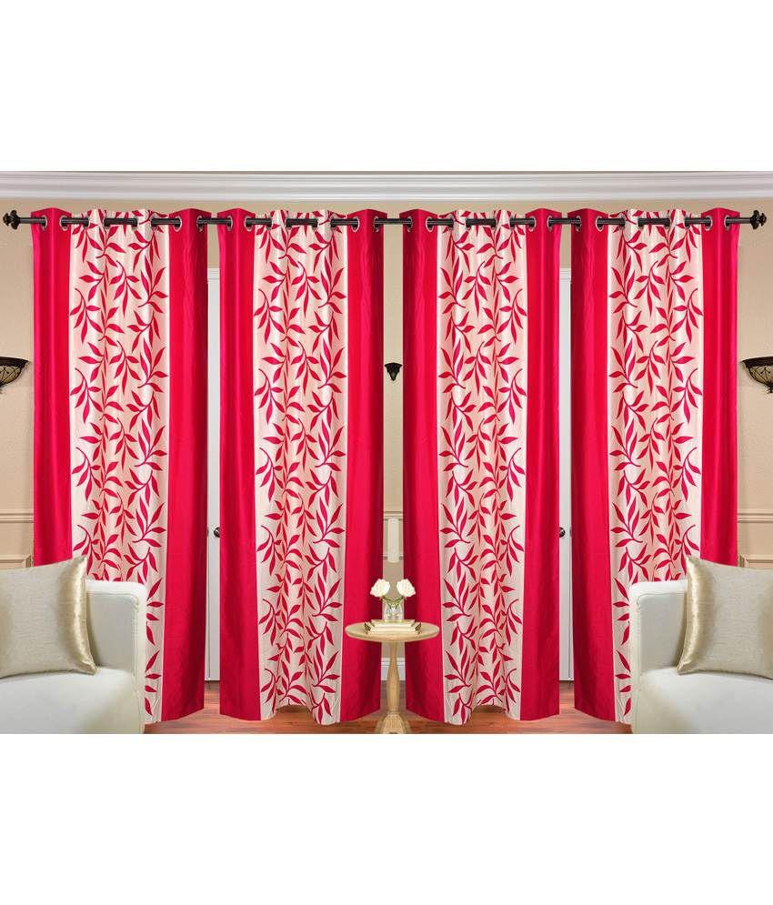 Handloom Hut Set of 4 Door Eyelet Curtains Contemporary Pink