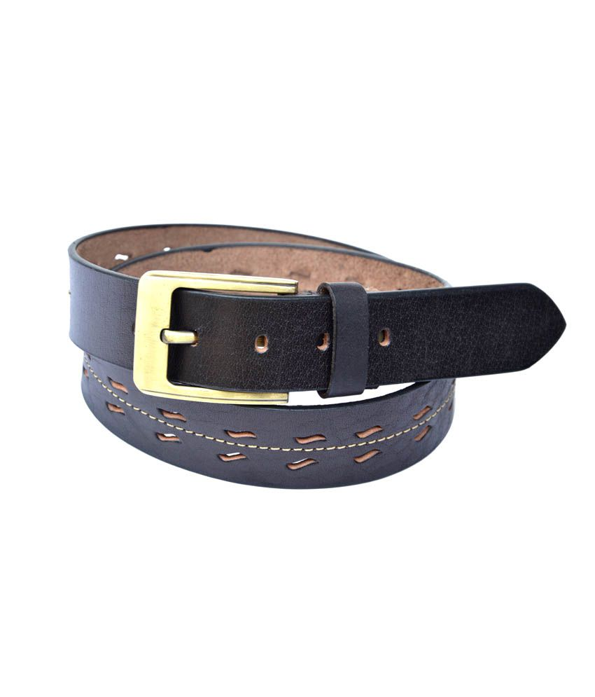 Manshkhino Black Leather Pin Buckle Casual Belt