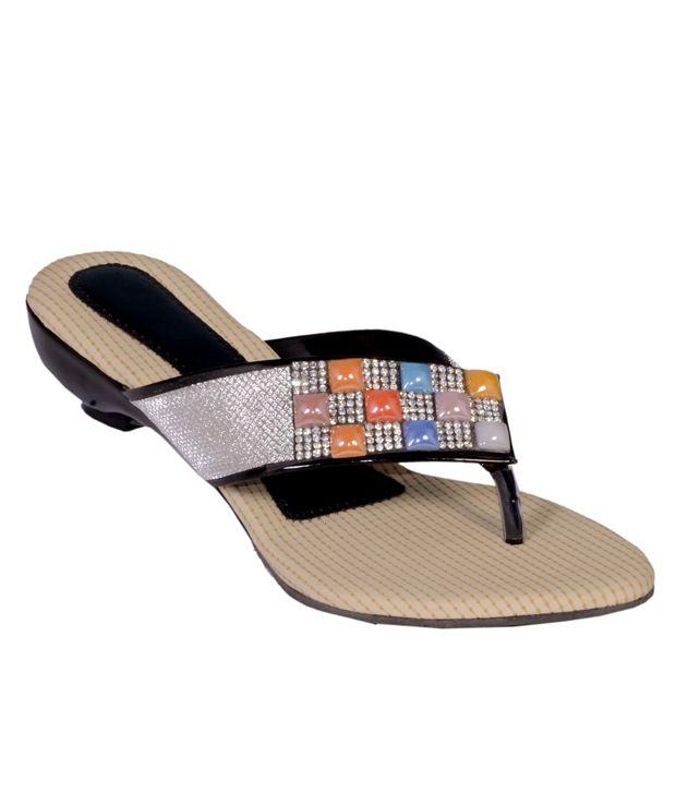 Altek Black Patent Resin Sheet Ethinic Footwear For Women