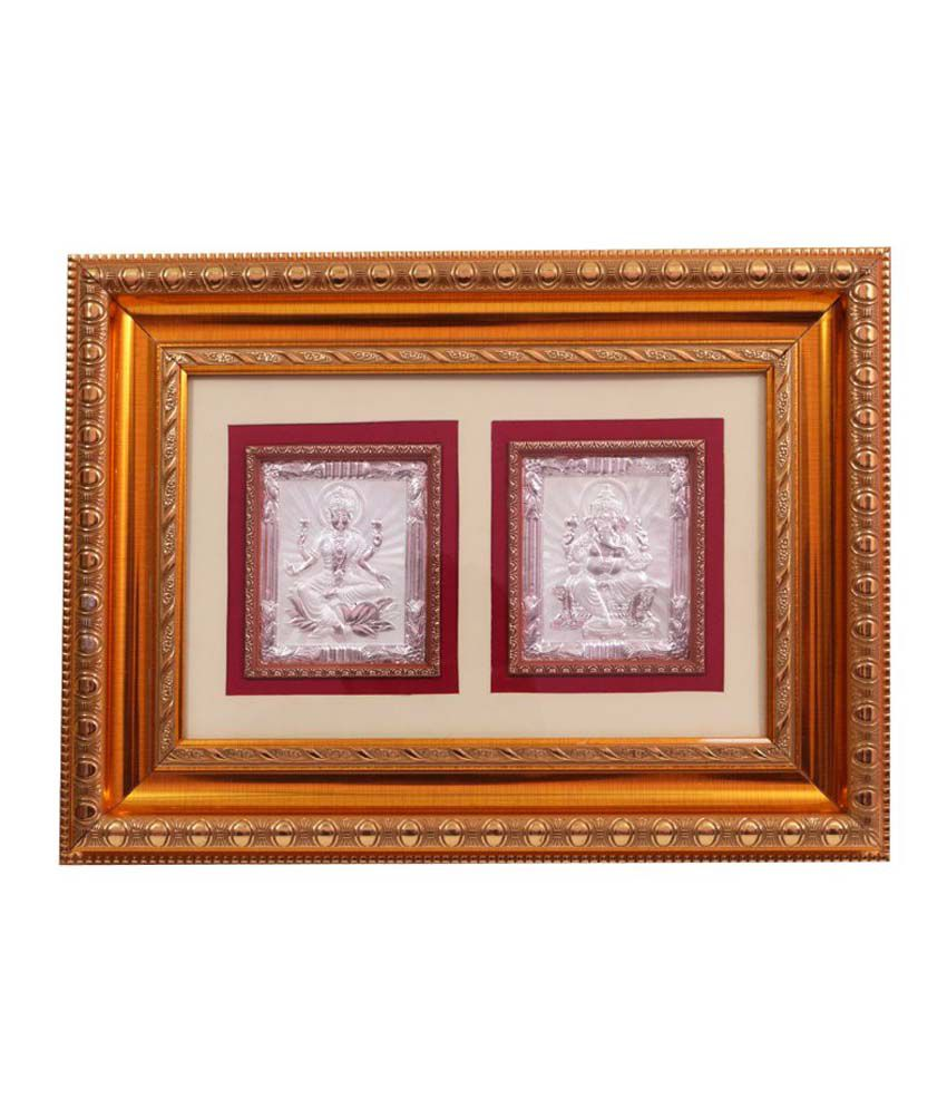 Dev Aastha Lakshmi Ganesh Silver Photo Frame