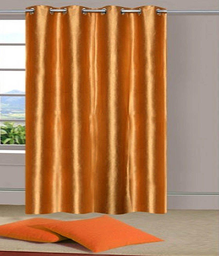 Handloom Hut Single Door Eyelet Curtain Solid Gold