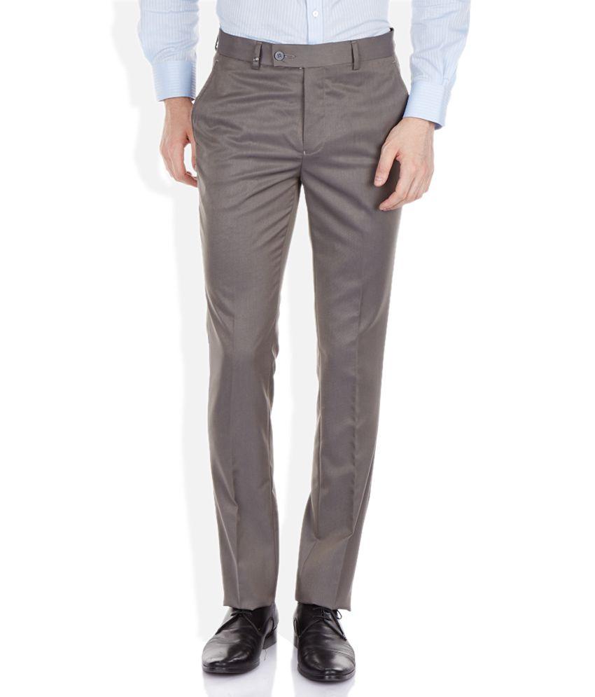 London Bridge Gray Slim Fit Trousers