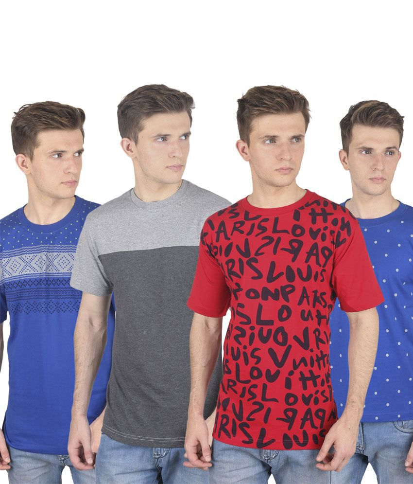 Stylogue Multicolor Cotton Blend Round Neck Printed Men T Shirts Combo Of 4