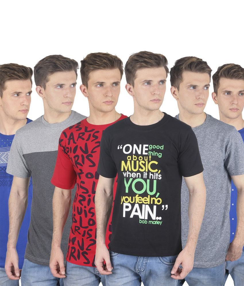 Stylogue Multicolor Cotton Blend Round Neck Printed Men T Shirts Combo Of 6