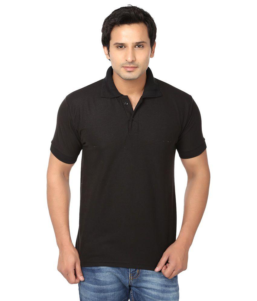 Awa black solid half sleeve t shirt for men buy awa for Men s dobby shirt