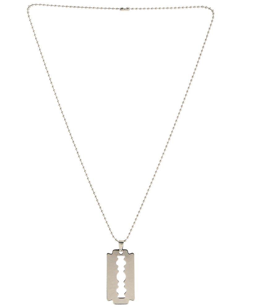 Crunchy fashion silver razor blade pendant with chain buy crunchy crunchy fashion silver razor blade pendant with chain altavistaventures Image collections