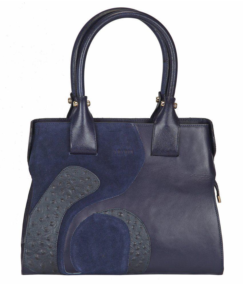 Adamis Blue Leather Zipper Shoulder Bag