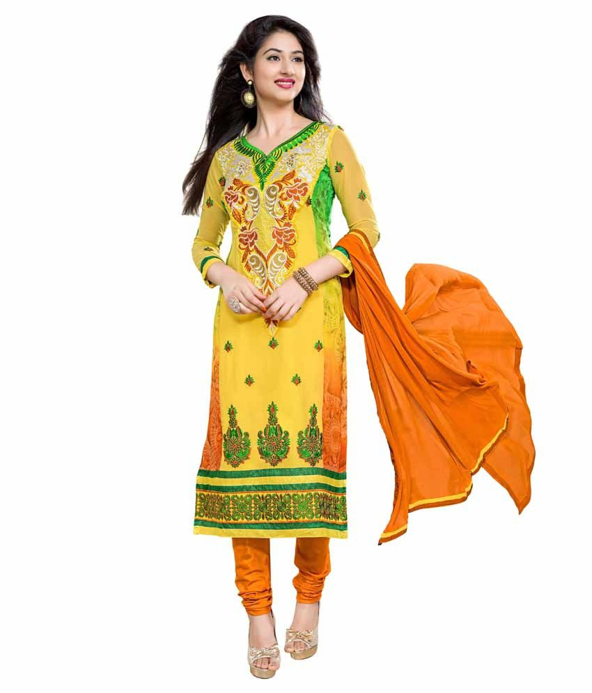 Dhanlaxmi International Yellow Faux Georgette Unstitched Dress Material