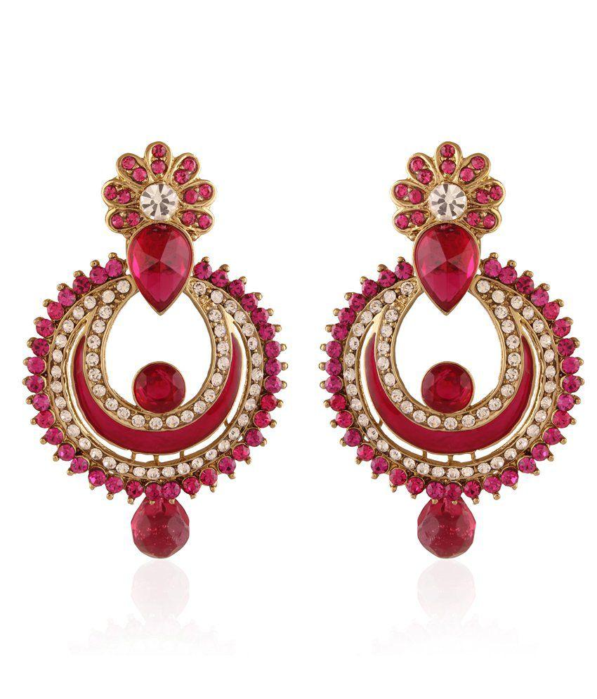 I Jewels Pink Alloy Earrings